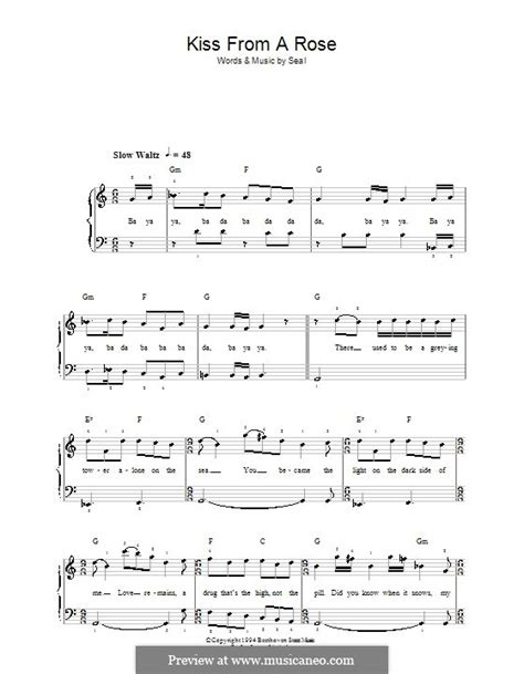 piano tutorial kiss from a rose kiss from a rose by seal sheet music on musicaneo