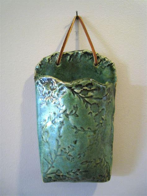Wall Pocket Vases Green Floral Ceramic Wall Pocket Vase
