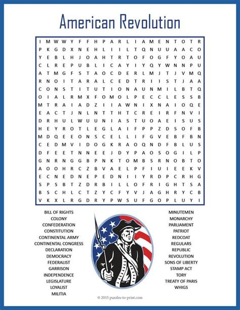 American Revolution Worksheets For by American Revolution Word Search Puzzle Early