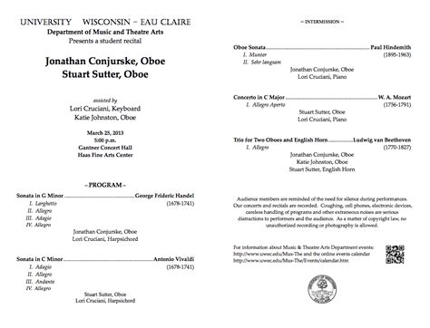 concert program template concert program template eau oboes march