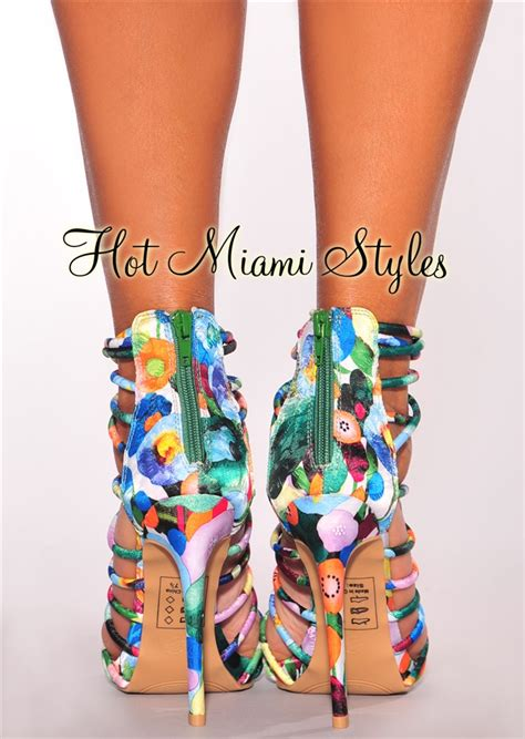 coloured patterned heels multi color floral print crisscross strappy high heels