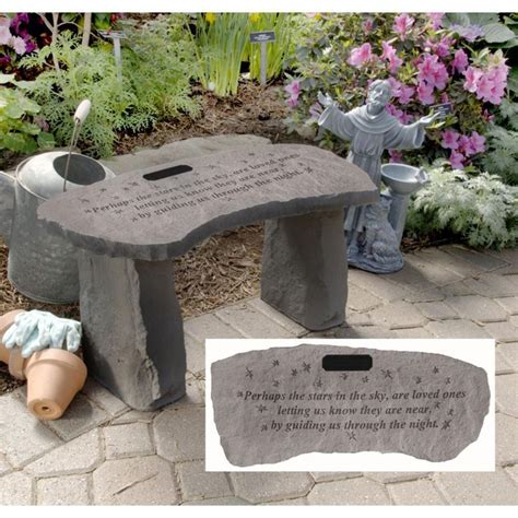 memorial garden benches stone stars personalized cast stone memorial garden bench