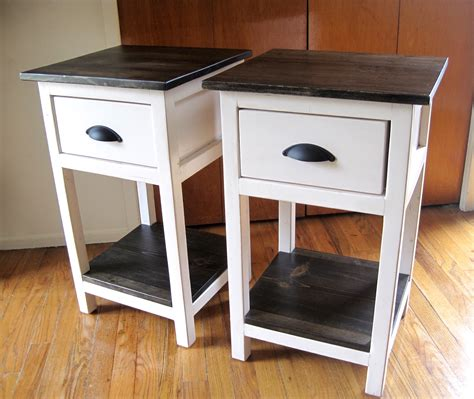 White Bedside Table With Wood Top Pair Of Diy Narrow White Bedside Table With Storage And