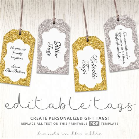 printable gift tags gold glitter gift tags gold silver printable editable