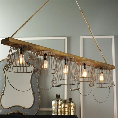 Wire Basket Chandelier Rustic Wire Basket And Wood Chandelier