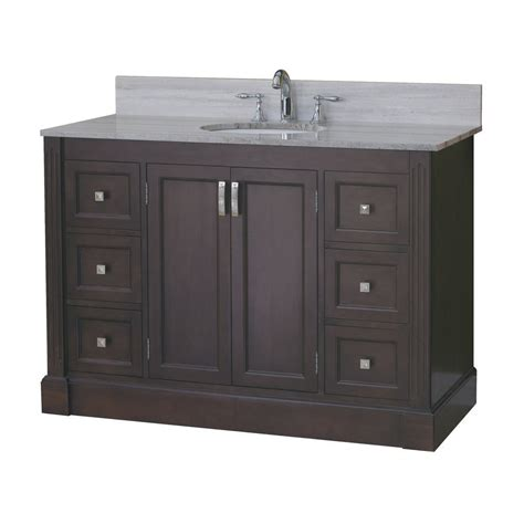 Lowe S Canada Bathroom Vanities Allen Roth 49 In Espresso Kingsway Traditional Bath Vanity Lowe S Canada