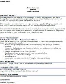 How To Write A Personal Profile Essay by Sle Resume Of A Receptionist Resume Cv Cover Letter