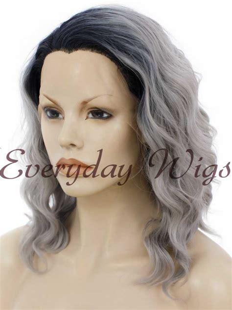 picture of gray wavy bob 14 ombre grey short bob wavy synthetic wigs edw272