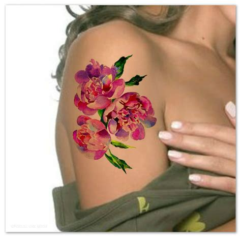 temporary tattoo peony watercolor flower ultra by