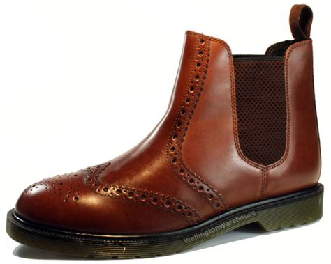 Brogue Chelsea Boots oaktrak belper brown bordo leather brogue chelsea boots