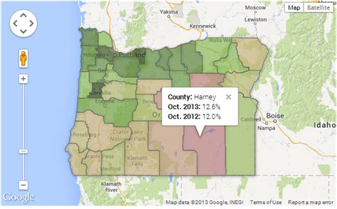interactive map of oregon interactive map unemployment in oregon see the world