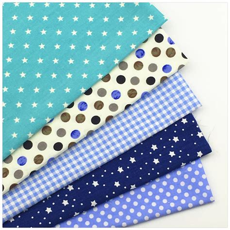 Tilda Patchwork Fabric - 5pcs 40 50cm blue dot print cotton fabric bundle