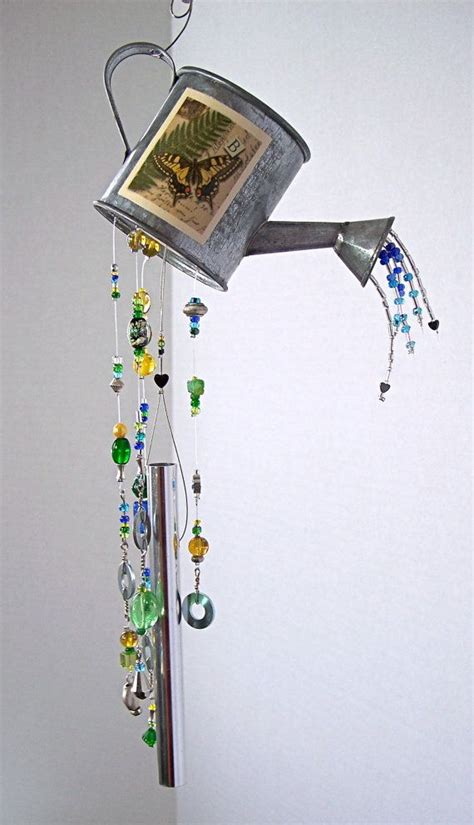 wind chimes diy wind chime small watering can with butterfly garden wind