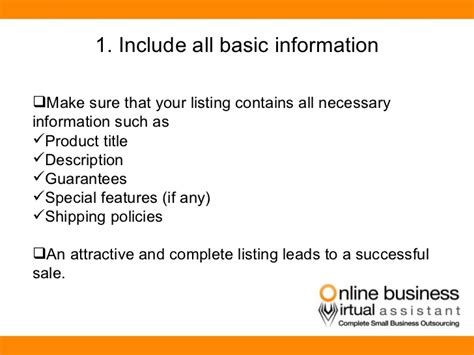 sle business plan virtual assistant the 5 step plan to make your ebay business listings