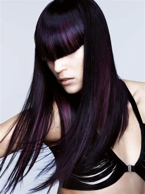 black women hairstyles streaks dark black hair with purple streaks purple hair