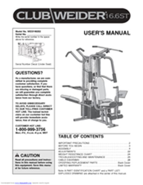 weider club 16 6st manuals