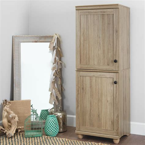 narrow cabinet with doors south shore hopedale rustic oak 2 door narrow storage