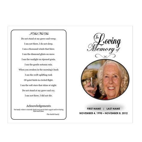 memory poem template in loving memory funeral phlets