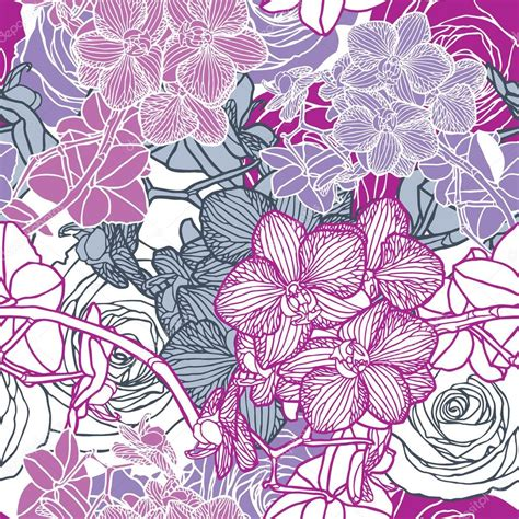 orchid pattern vector seamless flower pattern with orchids stock vector