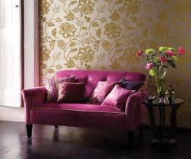 Mauve Living Room Wallpaper Home Quotes Theme Design Purple And Gold Color Combination