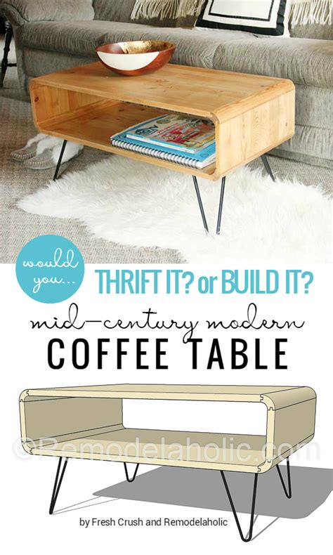 build modern coffee table remodelaholic thrifted cubbies to mid century modern coffee table