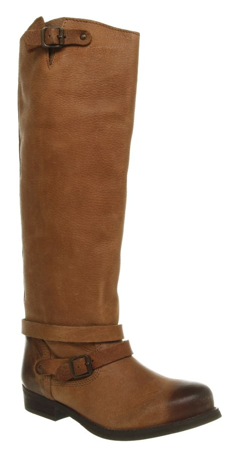 womens office boy knee high brown leather boots ebay