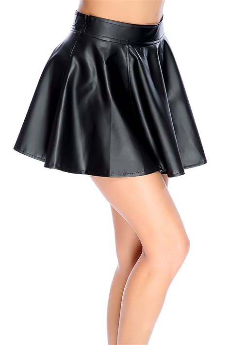 black faux leather mini skater skirt