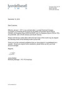Business Letter Template Price Increase market info from rcu chemical llc lyondell pg price increase letter