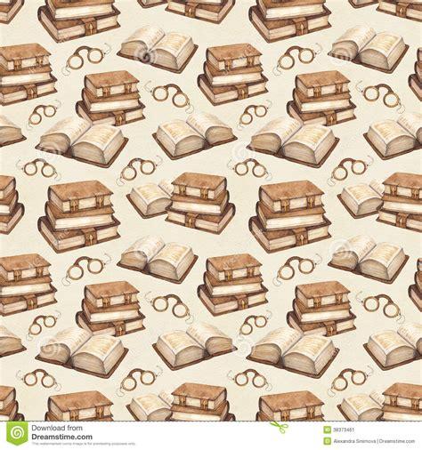 pattern book image vintage books illustration seamless pattern stock