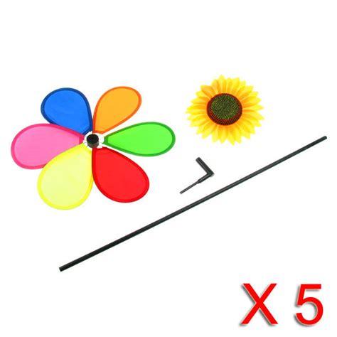 girandole da giardino 5 girandole multicolore con girasole per giardino balcone 57cm
