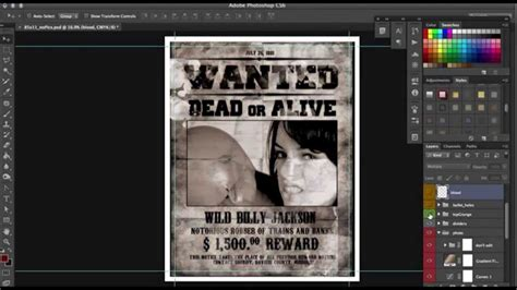 poster template photoshop western wanted poster template photoshop tutorial