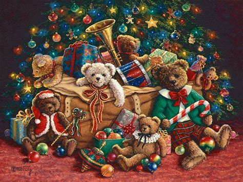 teddy bear christmas a new holiday painting from janet