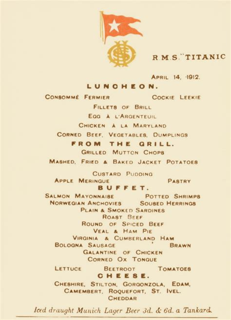 titanic third class menu final lunch menu from the titanic to fetch 150 000 or