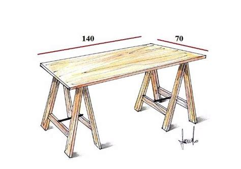 scrivania fai da te legno tavolo su misura con i cavalletti