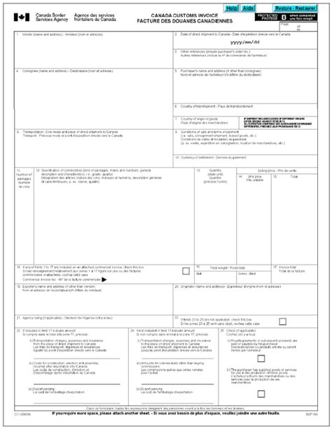 us customs invoice template commercial invoice template canada free business template