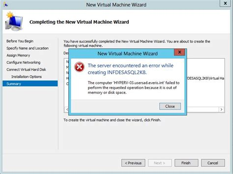 how to create server in no more room in hell windows server 2012 hyper v server unable to create vms in csv out of memory or disk space