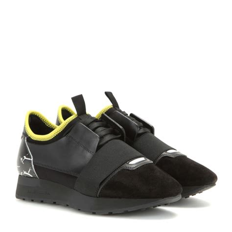 balenciaga race runner fabric leather and suede sneakers in black lyst