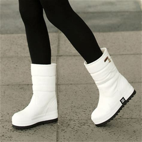 white snow boots winter solid color brief s platform