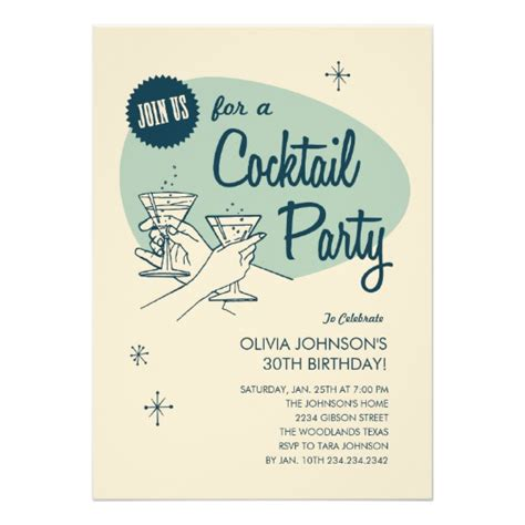 cocktail invitation retro cocktail invitations zazzle com