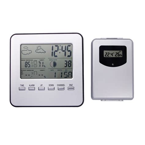 Weather Station Humidity Temperature Alarm Desk Clock Jam Alarm digital home wireless weather station table desktop calendar alarm clock temperature meter