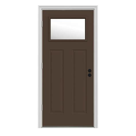 jeld wen 34 in x 80 in 1 lite craftsman chocolate