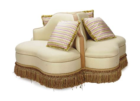 confidante sofa a cream cotton upholstered circular confidante sofa