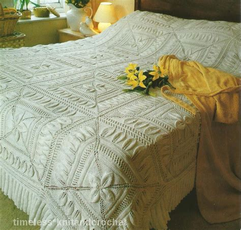 knitted bed throw pattern vintage knitting pattern for beautiful leaf pattern