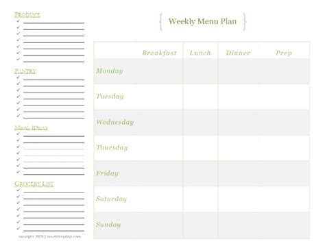 daily menu planner template daily menu planner template