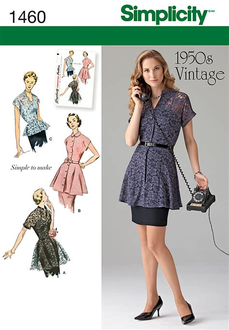 pattern review best patterns 2014 simplicity 1460 misses 1950 s vintage peplum tunic blouse