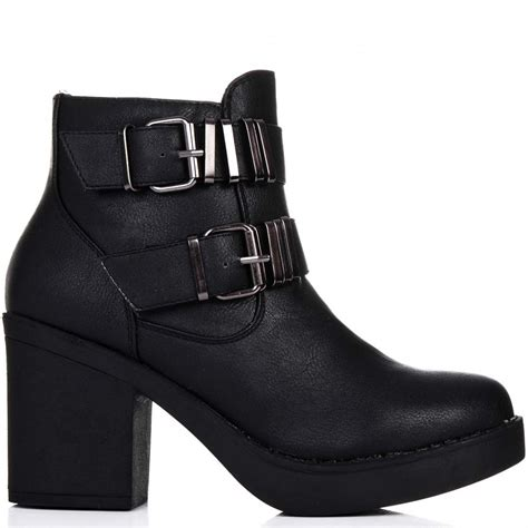 heeled biker boots buy tractor block heel biker ankle boots black leather