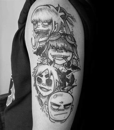50 gorillaz tattoo designs for men music band ink ideas
