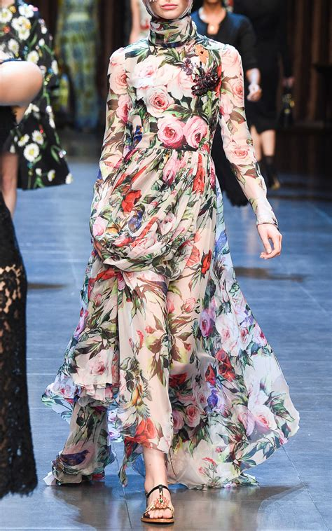 dolce gabbana silk chiffon embellished floral gown lyst