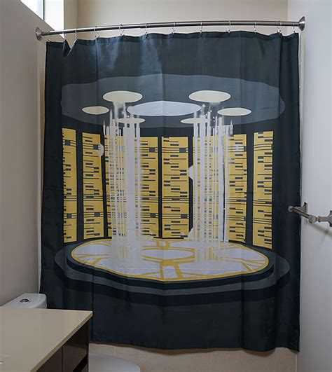 star trek bathroom accessories star trek tng transporter shower curtain thinkgeek