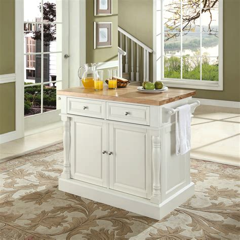 Kitchen Island With Chopping Block Top Butcher Block Top Kitchen Island In White Finish Modern